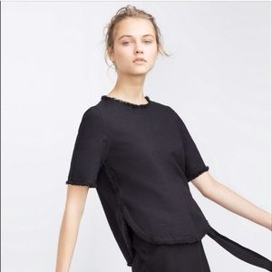 ZARA frayed black top